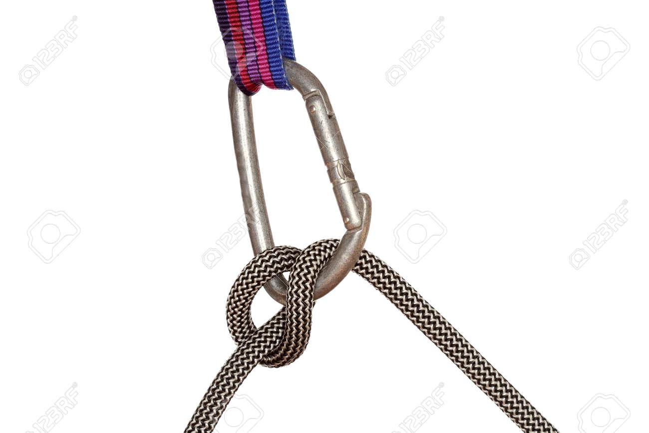 Kletterausrüstung Haken : Band mit haken und seil auf weißem hintergrund lizenzfreie fotos