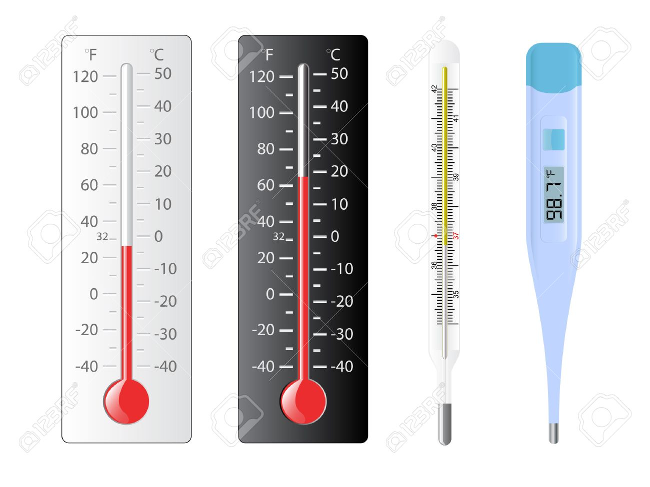 four different types of thermometers with several temperatures