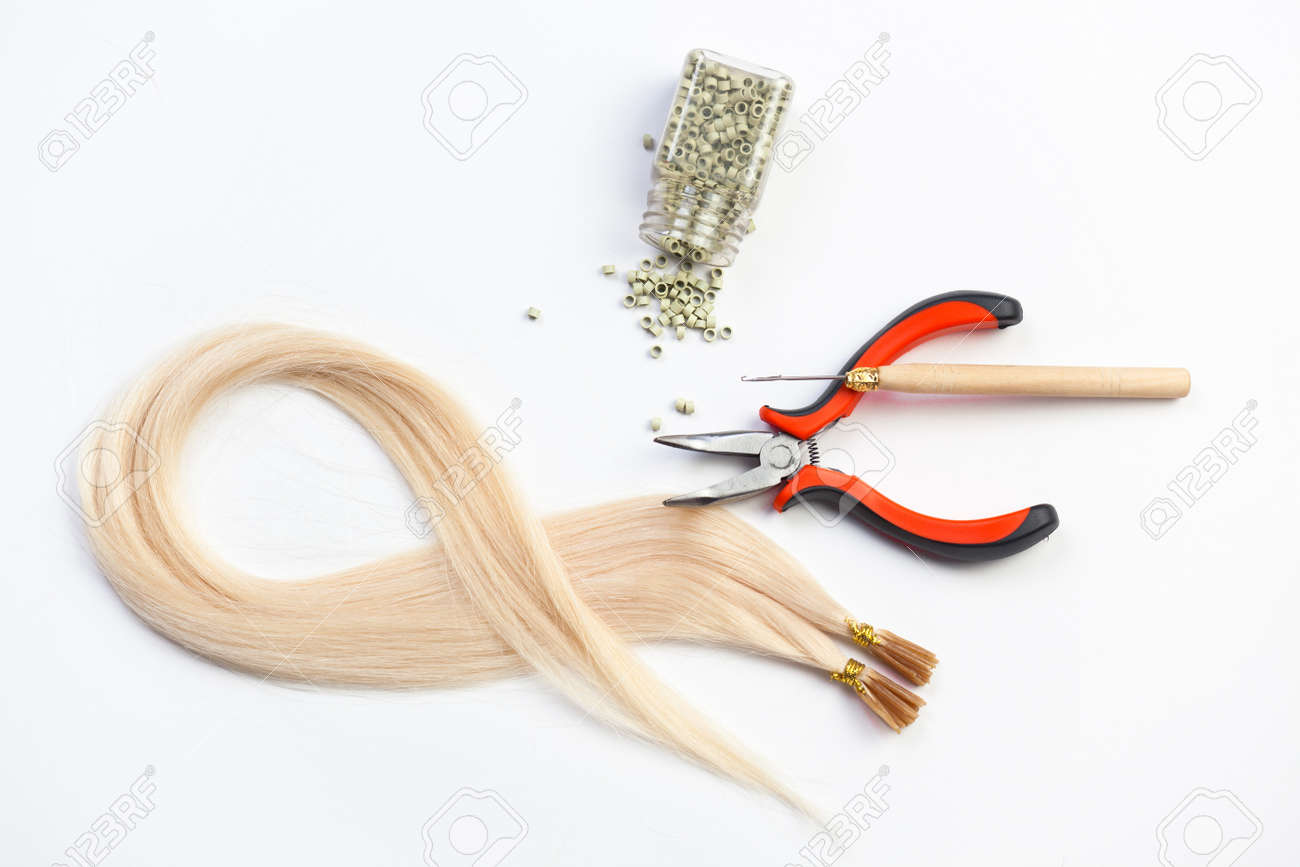 Set Of Blond Hair Extension Tools Stock Photo Picture And Royalty