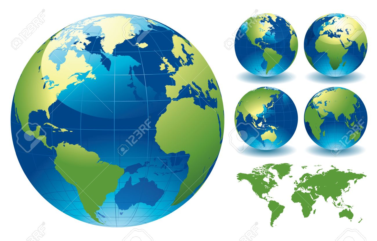 World Globe Maps Editable Vector Illustration Royalty Free – Globe Maps of the Earth