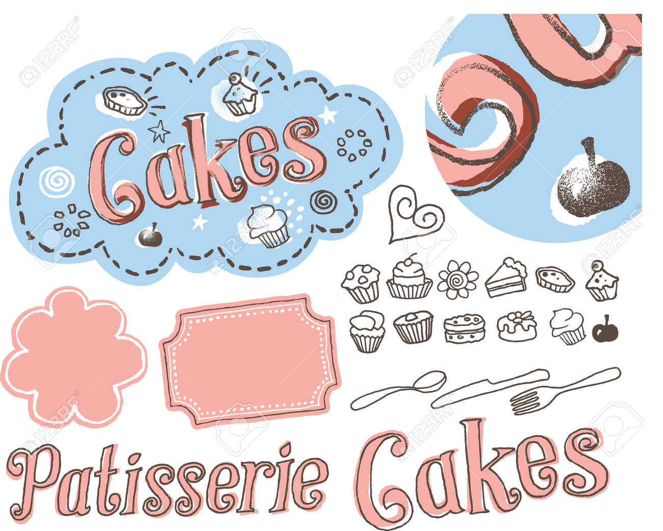 Hand drawn sketchy cake label illustration Stock Vector - 17659141