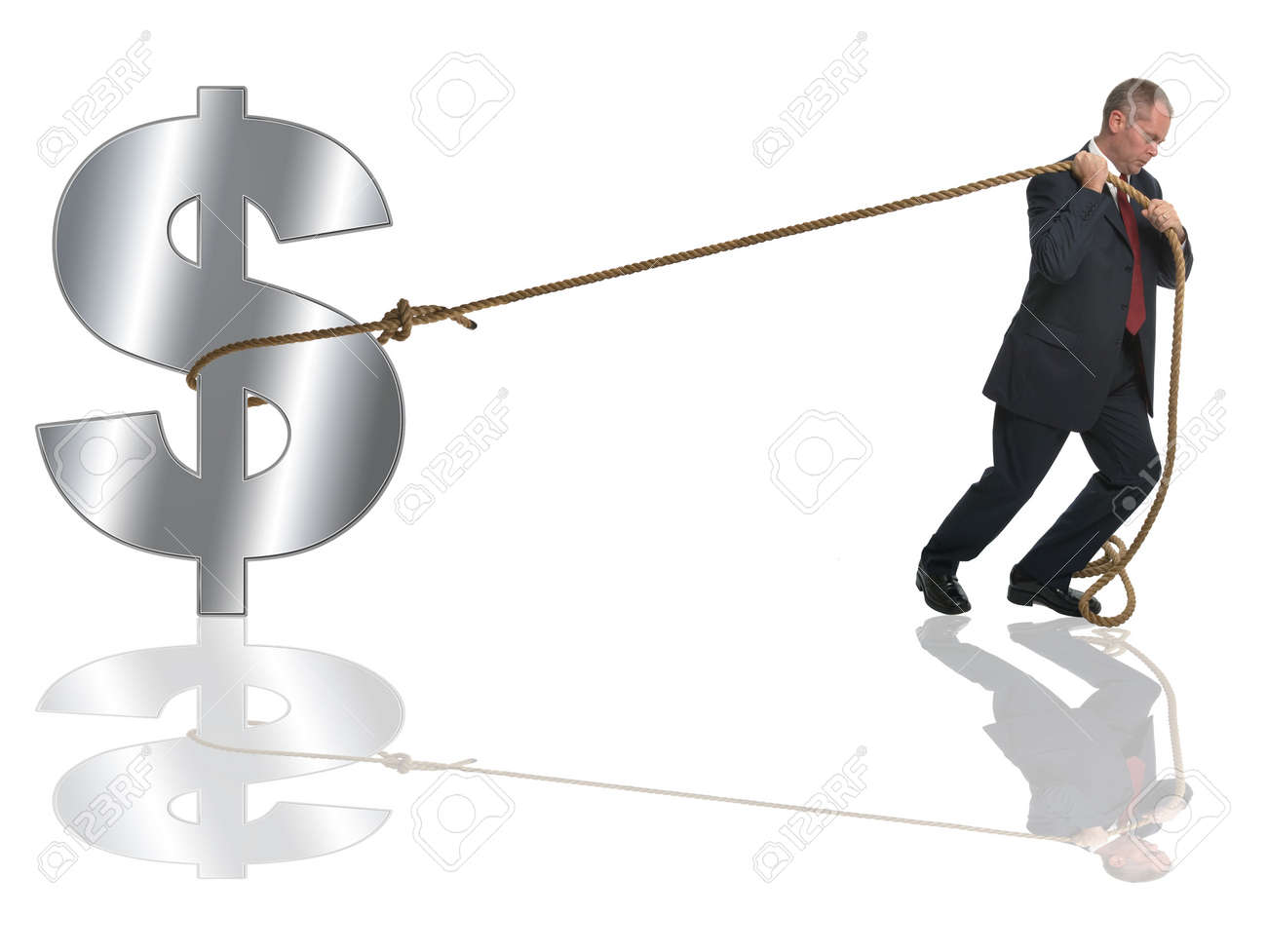 Businessman pulling along a silver dollar by a length of rope. Stock Photo - 1960928