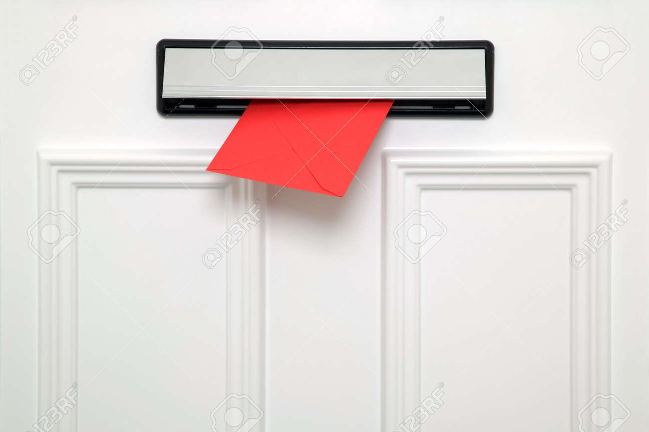 Red letter coming through a chrome letterbox on a white door. Stock Photo - 2185859 & Red Letter Coming Through A Chrome Letterbox On A White Door. Stock ...