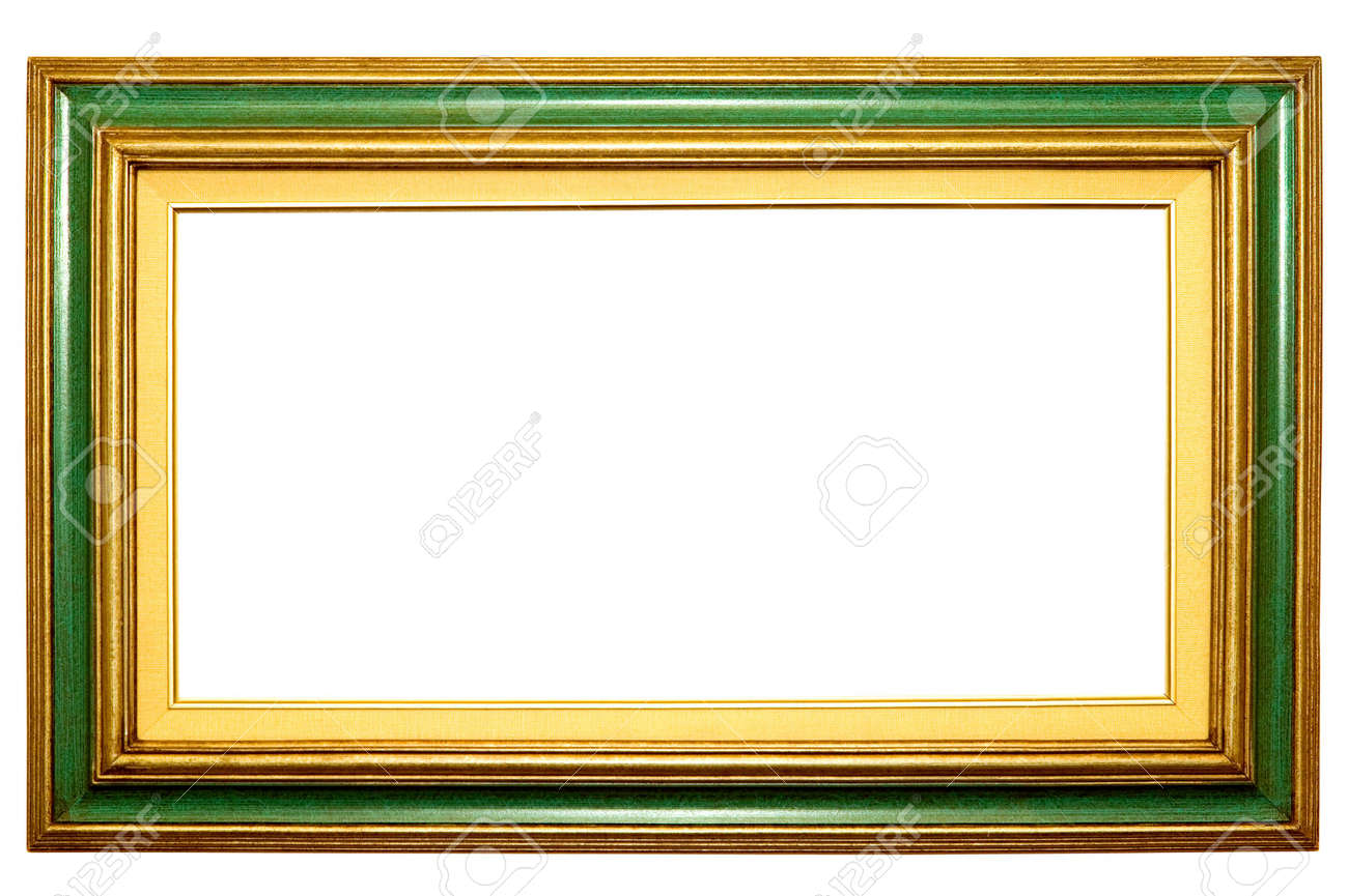 Green And Gold Picture Frame With Blank Canvas Area Stock Photo