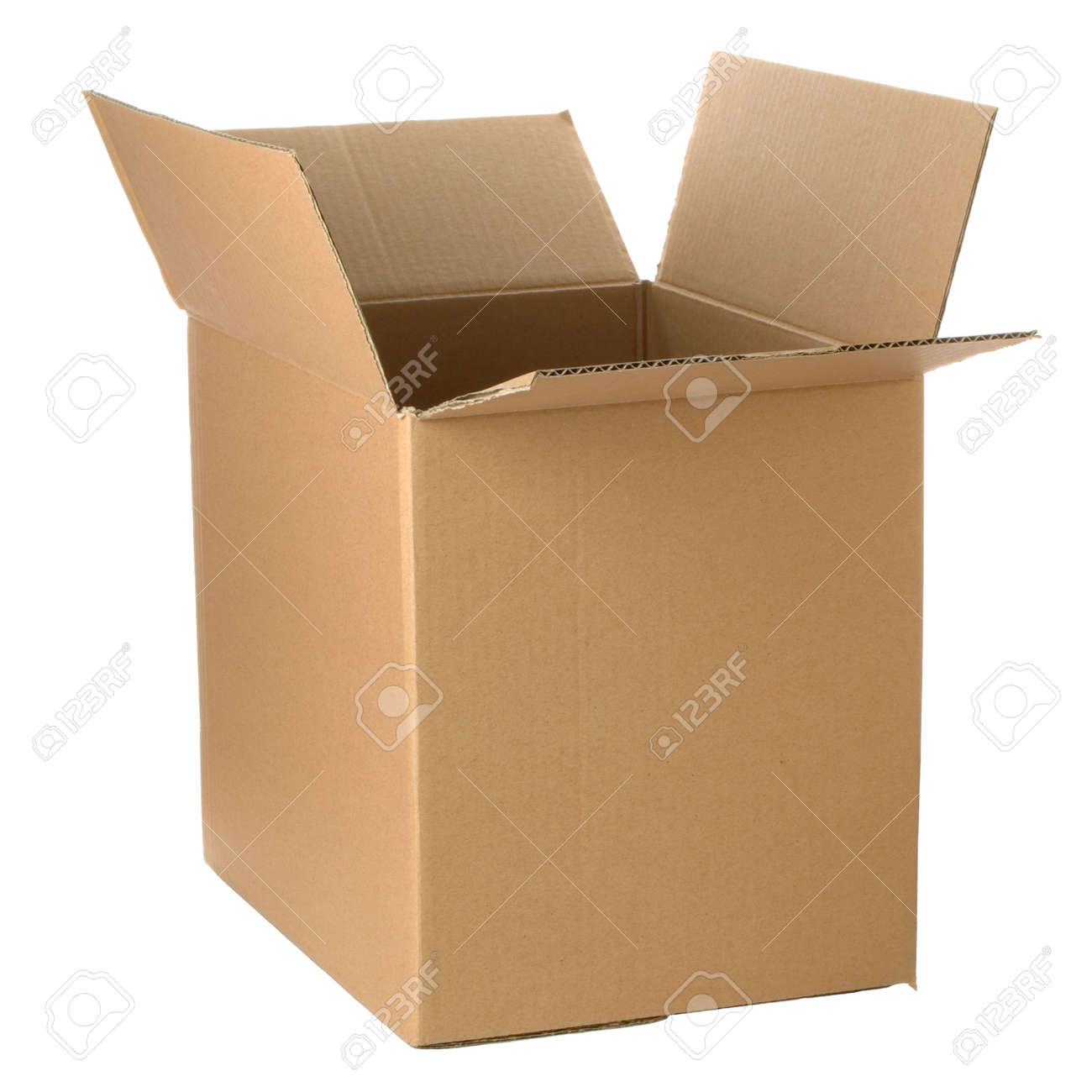 Brown cardboard box, add your own design or logo.  Isolated on white. Stock Photo - 2373637