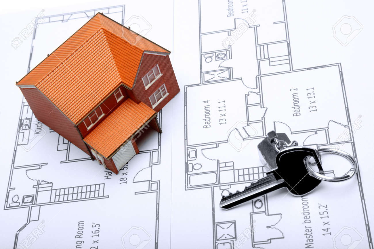 Ein Modell-und Haus-Taste Auf Der Architektur-Pläne Für Eine ...