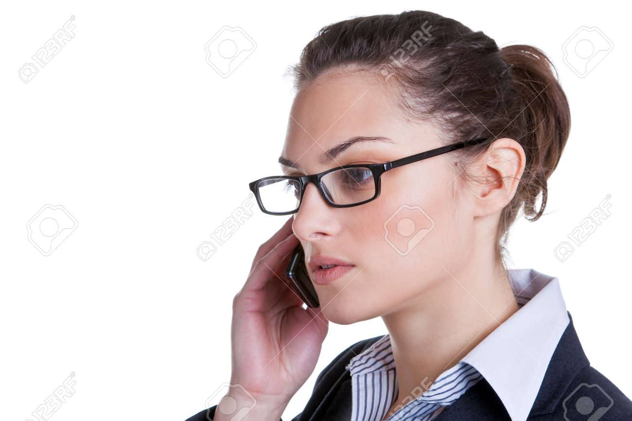 Attractive businesswoman making a phonecall, isolated on white background. Stock Photo - 4567805