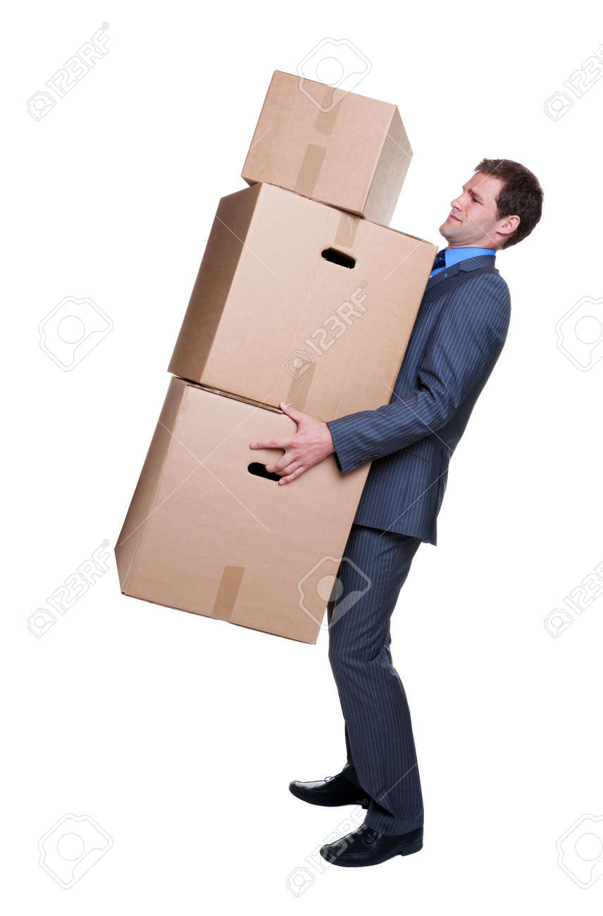 Businessman struggling to carry some heavy boxes, isoalted on white background. Stock Photo - 4906096