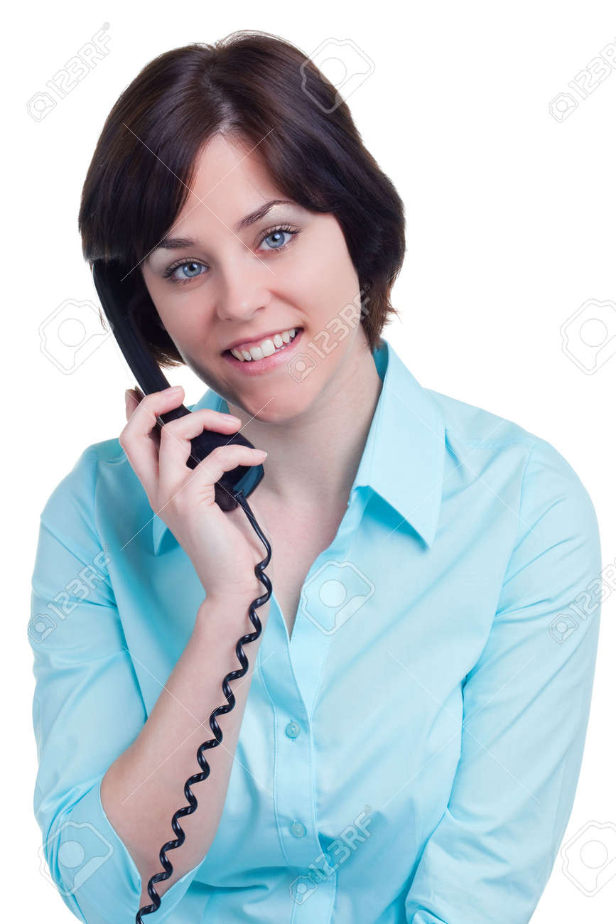 Woman talking on the telephone, isolated on white background. Stock Photo - 4906088