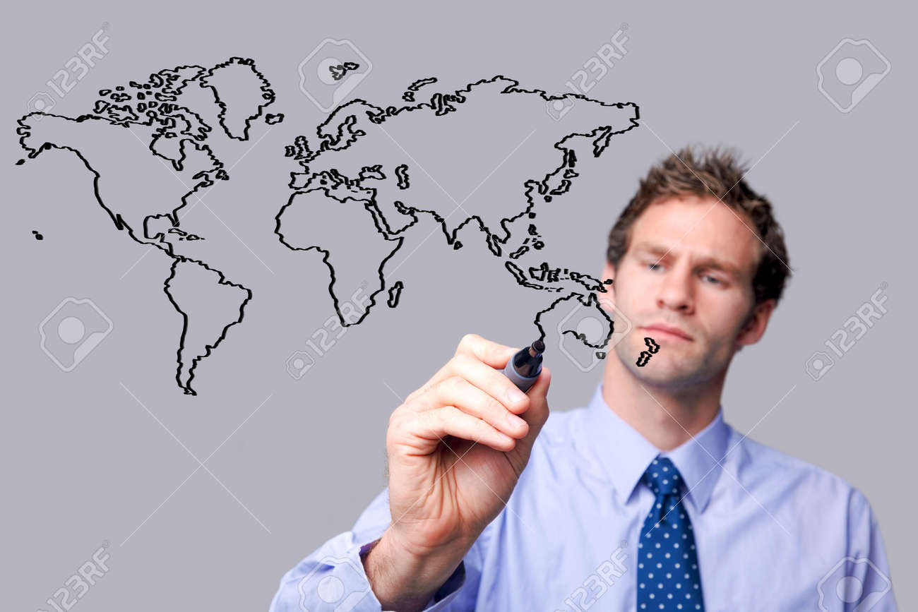 Businessman drawing a map of the world on a glass screen. The background is a uniform color all over so you can increase the copy space easily. Focus is on his hand, pen and sketch. Stock Photo - 5955305
