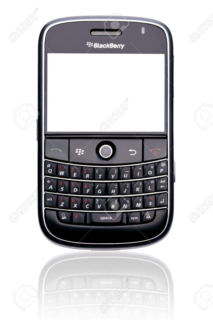 A Blackberry Bold 9000 smartphone, isolated on white with clipping paths for both phone and screen. - 7405552