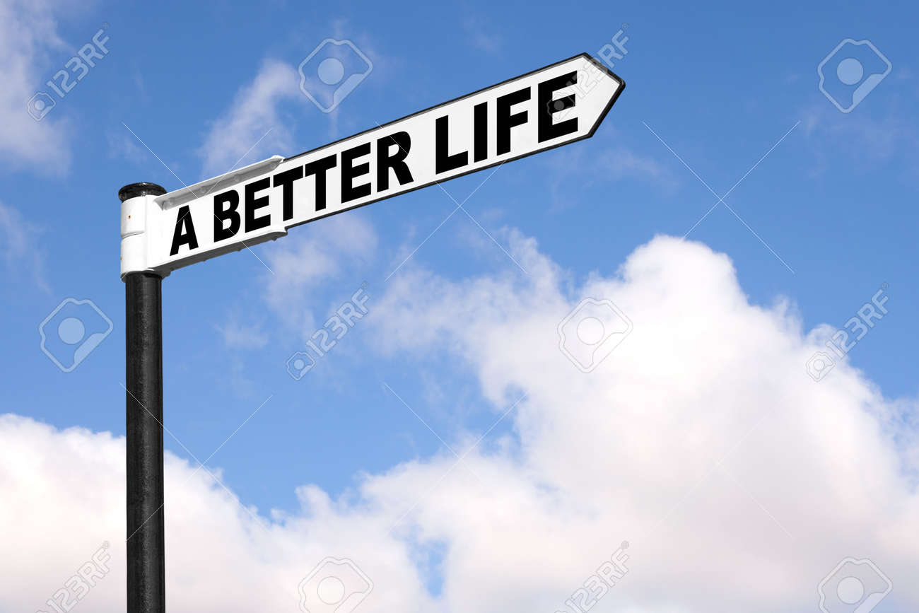 Concept image of a black and white signpost with the words A Better Life against a blue cloudy sky. Stock Photo - 7971117