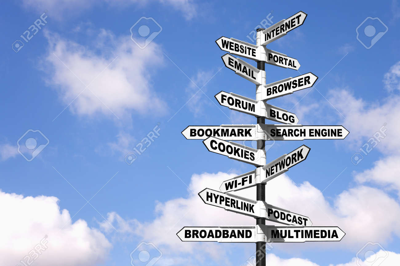 Concept image of a sign with lots of Internet related terminology on the directional arrows, or in other words a signpost on the Information Superhighway. Stock Photo - 7971157