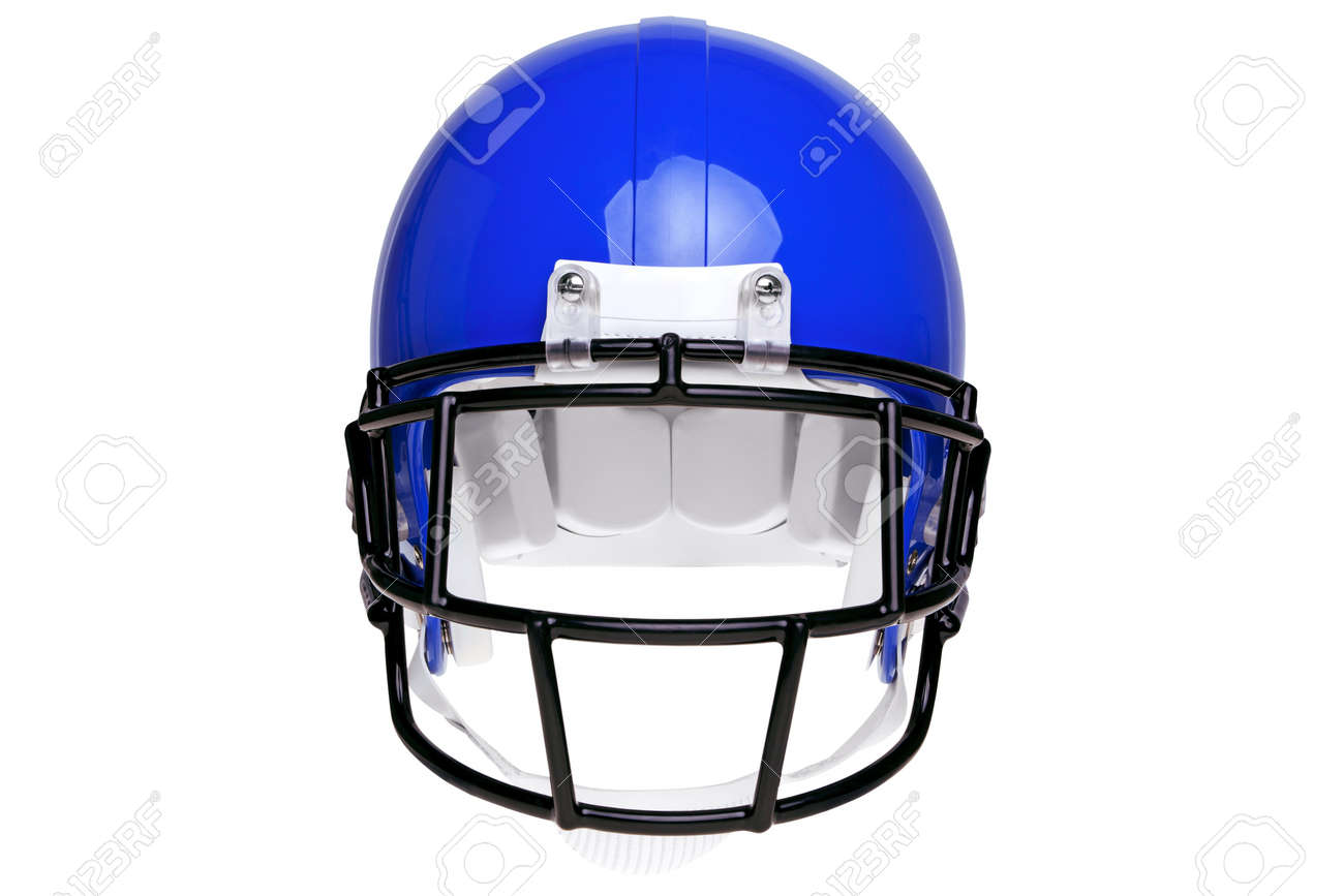 photo of a blue american football helmet isolated on a white stock