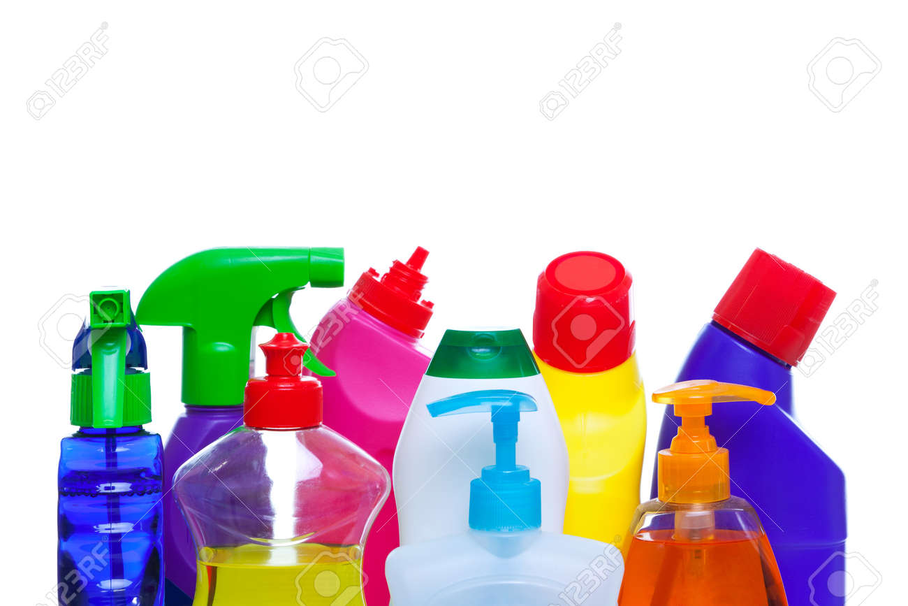 Photo of cleaning chemical bottles isoalted on a white background. Stock Photo - 7971491