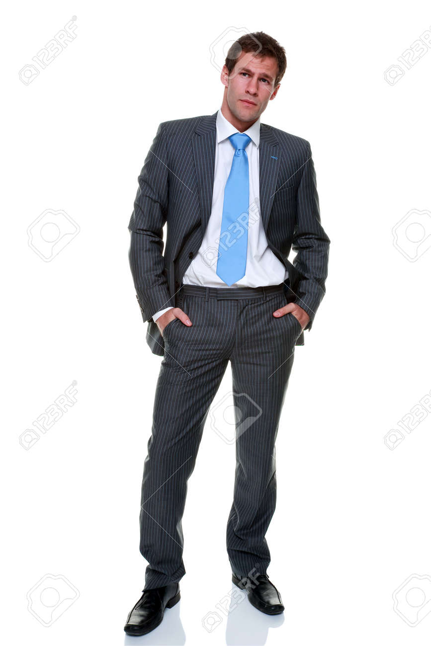 A businessman wearing a grey pinstripe suit and blue tie, isolated on a white background. Stock Photo - 8215383
