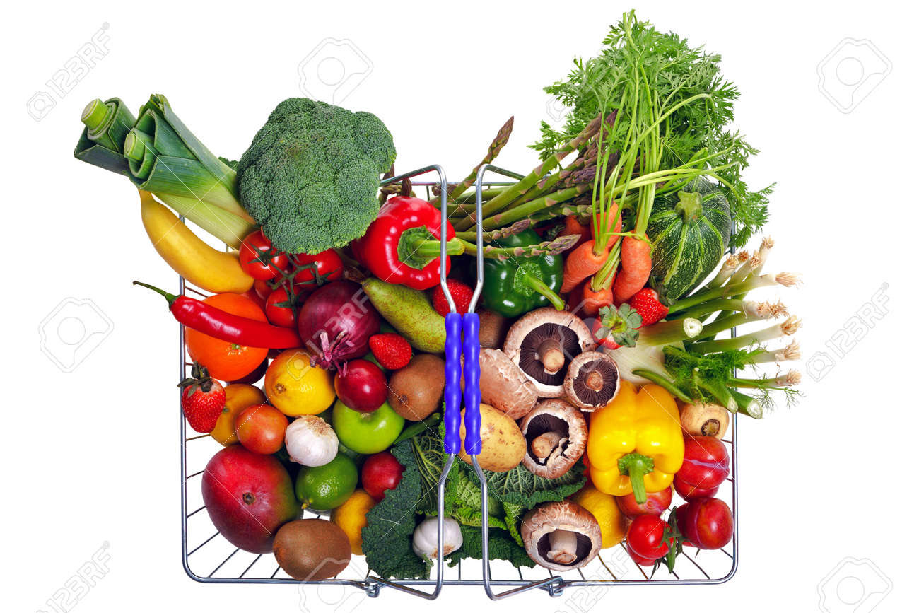 Photo of a wire shopping basket full of fresh fruit and vegetables, shot from above and isolated on a white background. Stock Photo - 8675778