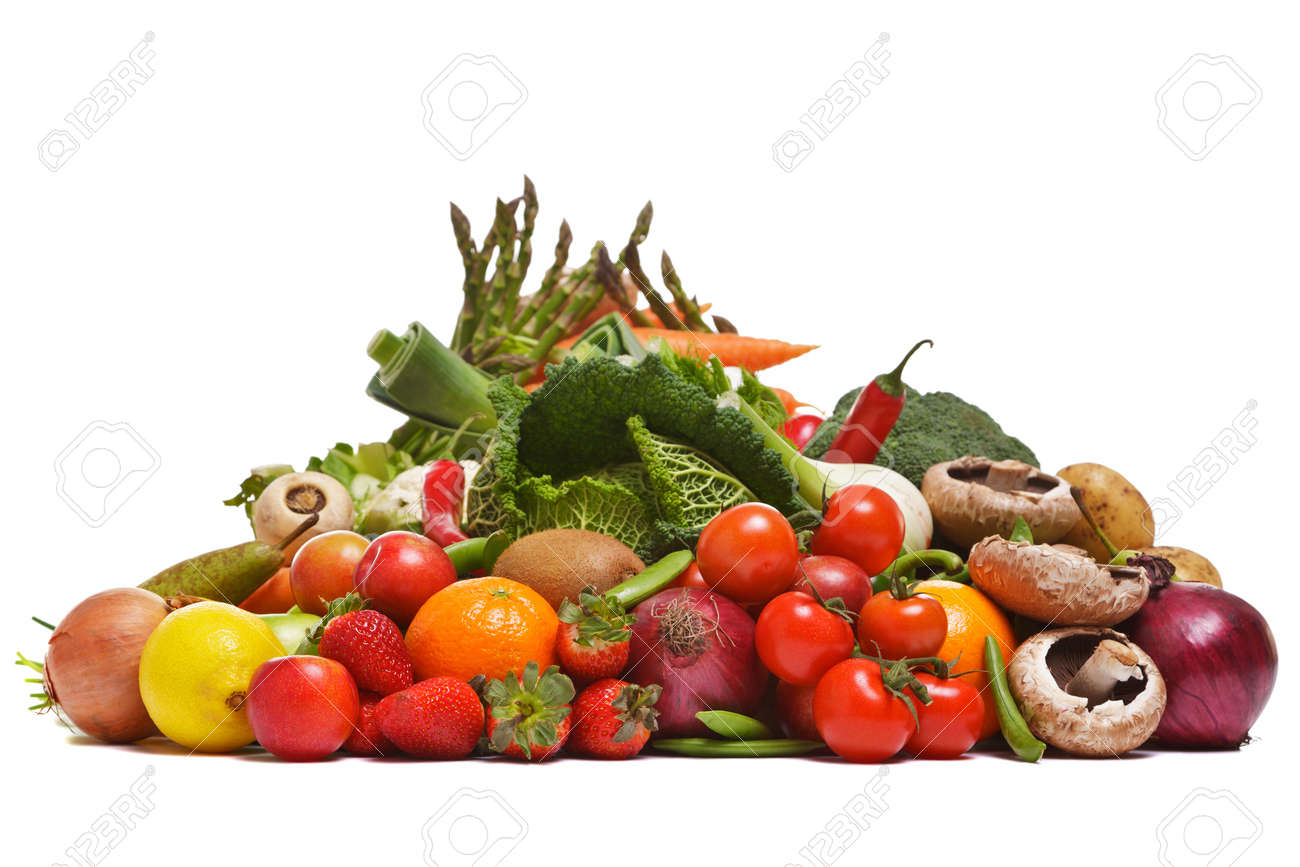 Photo of a large group of fruit and vegetables isolated on a white background. Stock Photo - 8675773