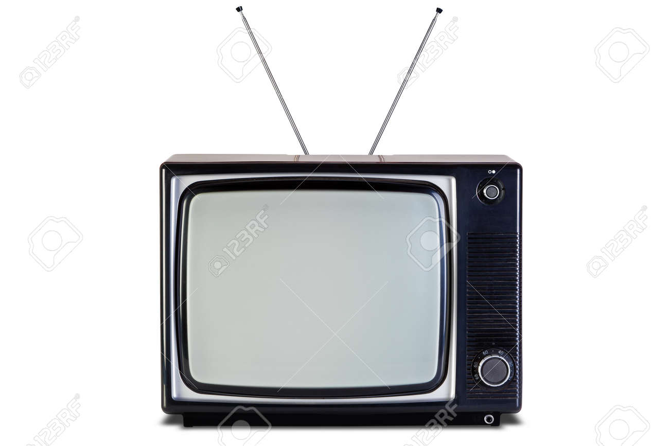 Photo Of An Old Retro Black And White Tv Set Isolated On A White