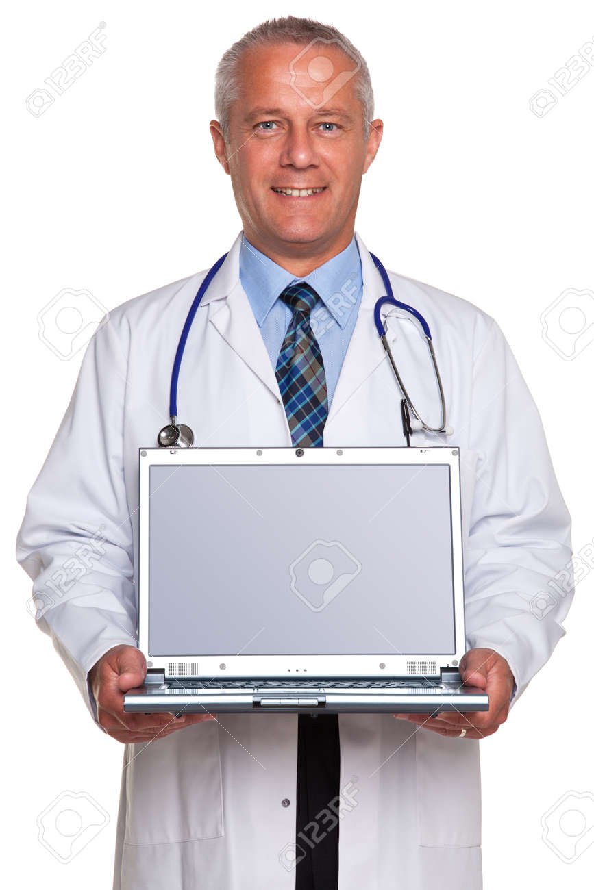 Photo of a mature adult male doctor, smiling to camera and holding a laptop computer with clipping path for the blank screen to add your own image of message, isolated on a white background. Stock Photo - 9969744