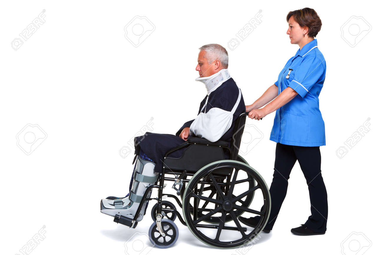 Photo of an injured man in a wheelchair with a female nurse pushing him, isolated on a white background. Stock Photo - 9969748