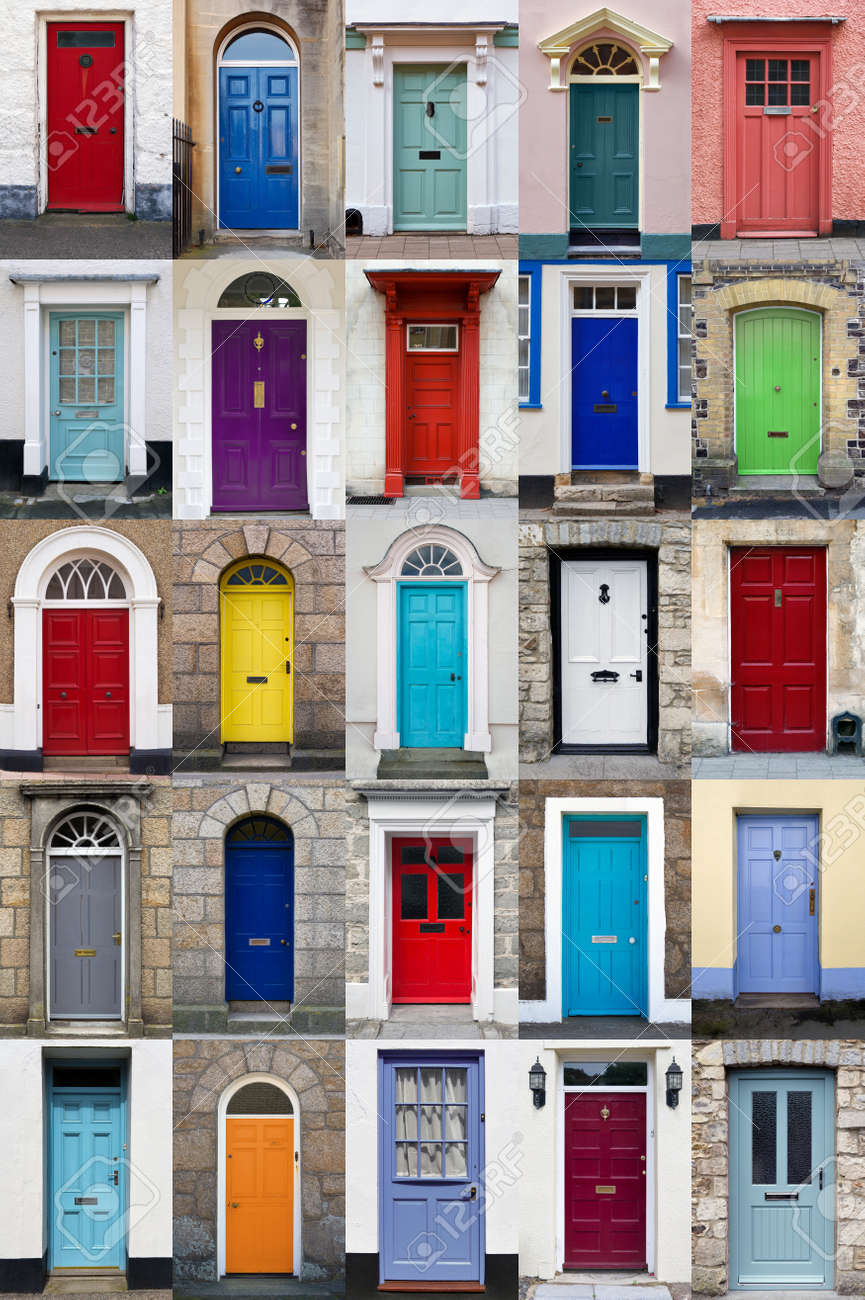 A photo collage of 25 colourful front doors to houses and homes Stock Photo - 12659063