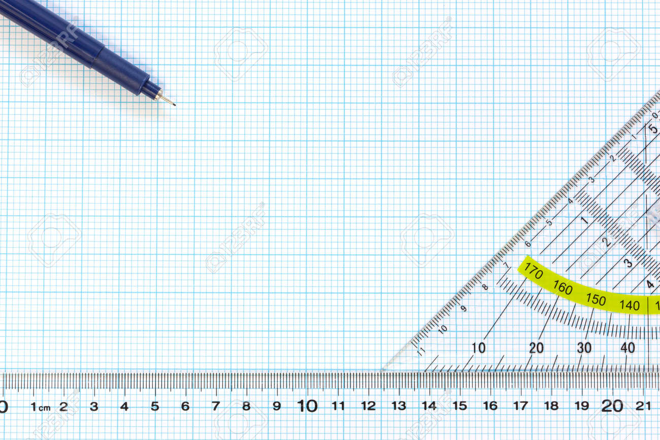 Still life photo of engineering graph paper with a fine 0 1mm pen, protractor and ruler blank to add your own design, image or text Stock Photo - 12659059