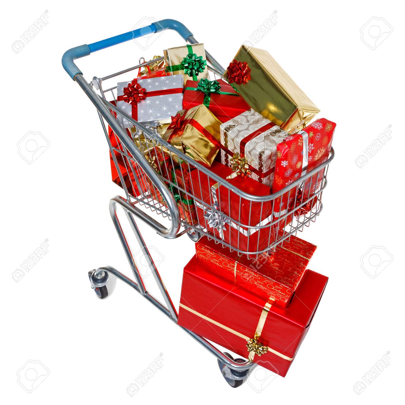 Ein Einkaufswagen Voller Geschenk Verpackt Weihnachtsgeschenke, Auf ...