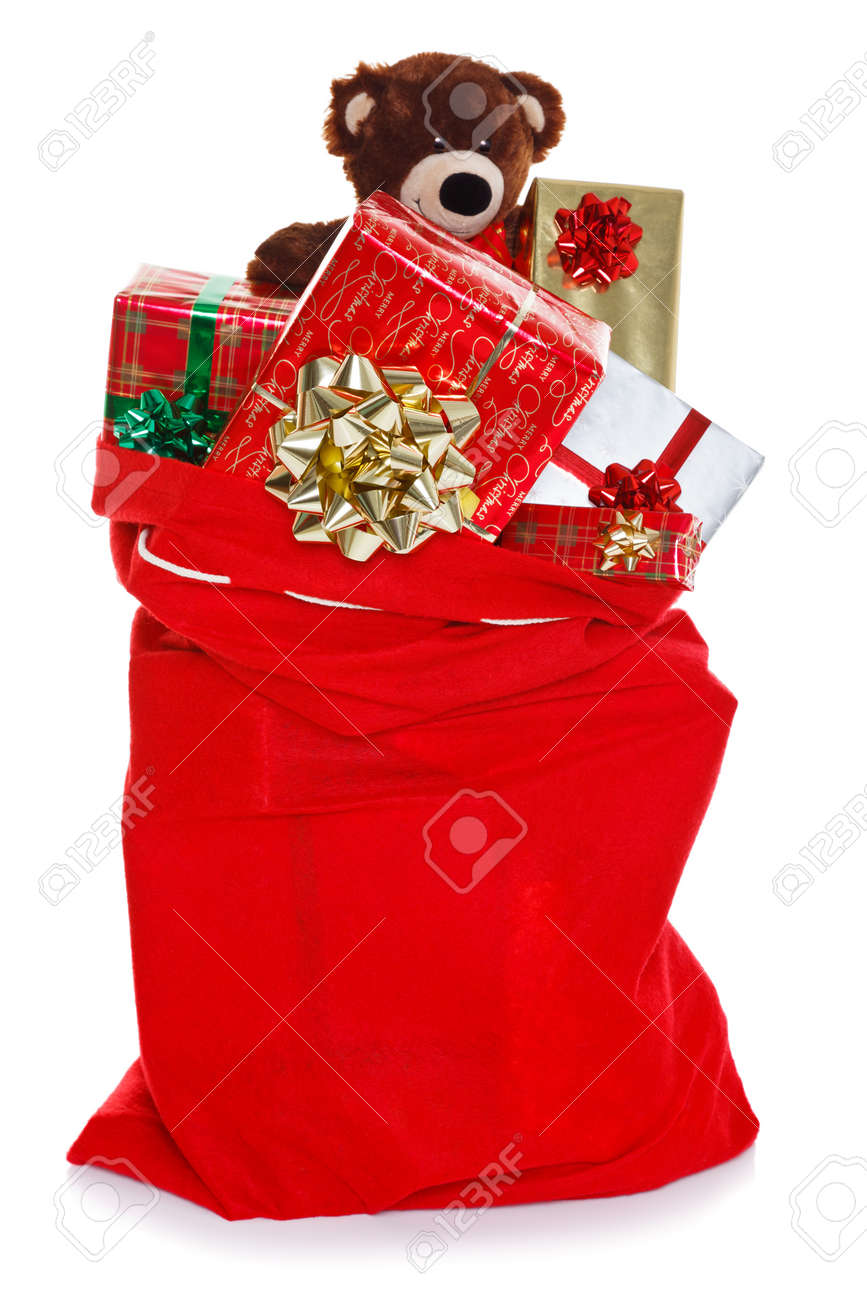 Red christmas sack full of gift wrapped presents isolated on a red christmas sack full of gift wrapped presents isolated on a white background negle Choice Image