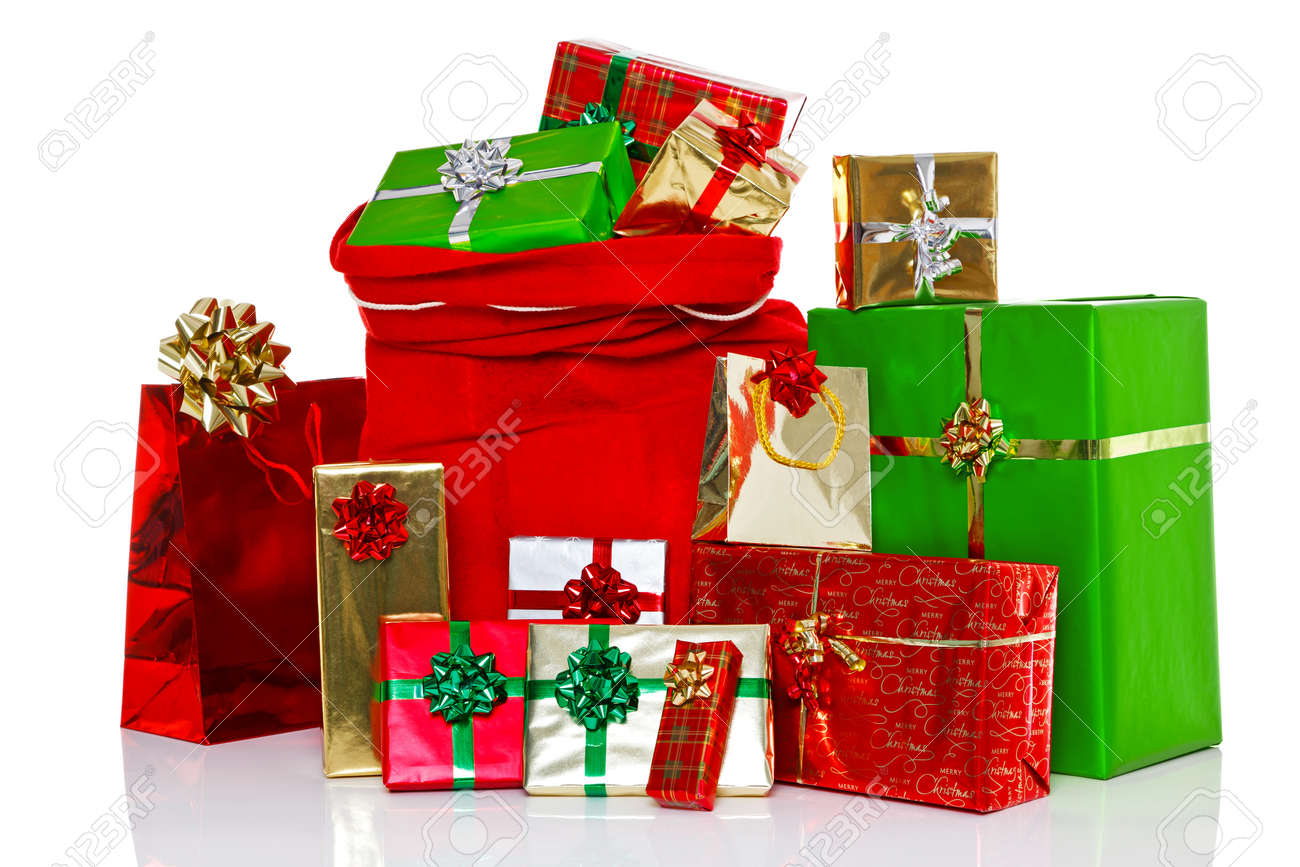 A Red Christmas Sack Full Of And Surrounded By Gift Wrapped ...