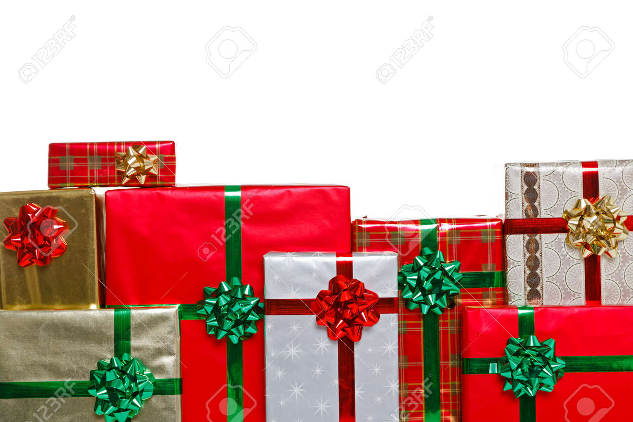 A group of gift wrapped christmas presents with bows and ribbons a group of gift wrapped christmas presents with bows and ribbons isolated on a white negle Gallery
