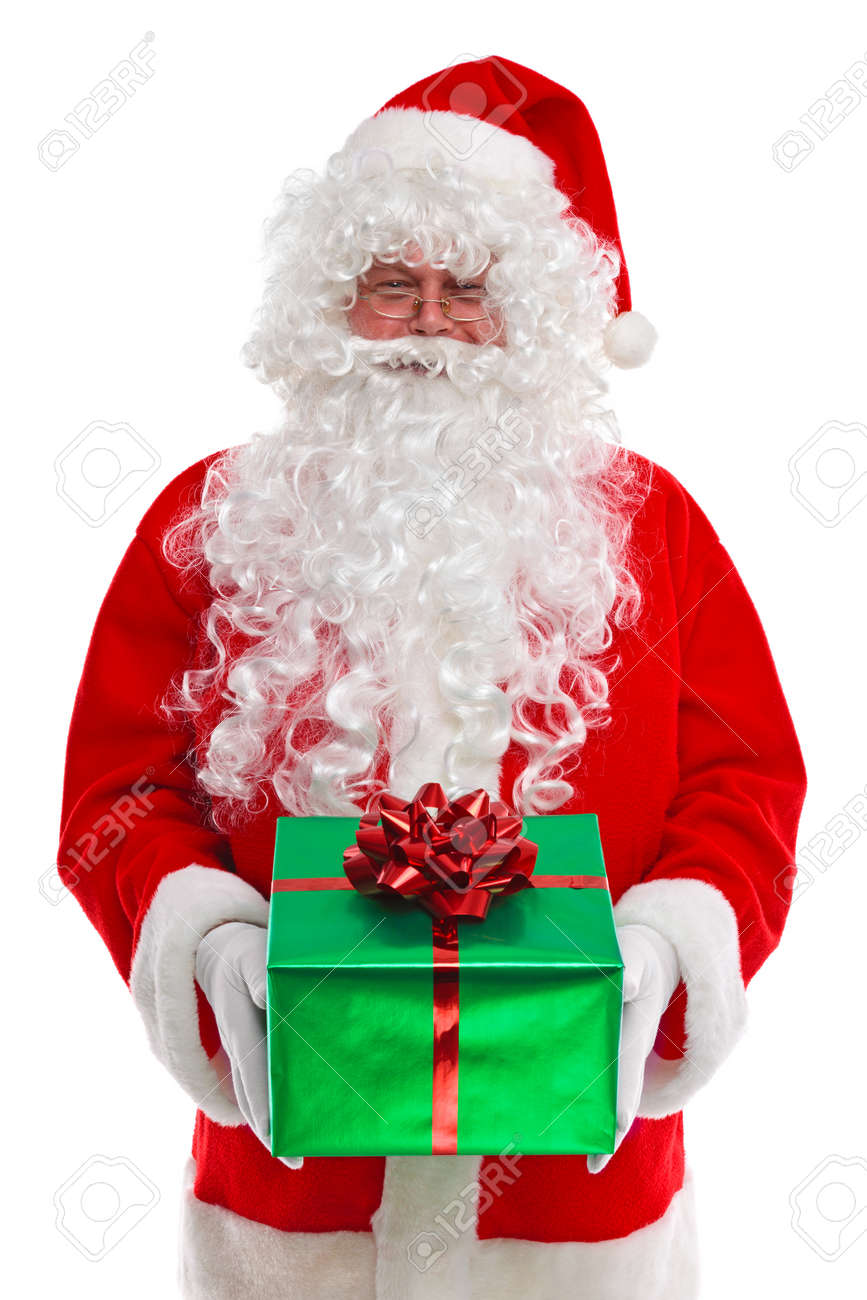 Santa Claus Giving You A Christmas Gift, Isolated On A White.. Stock ...