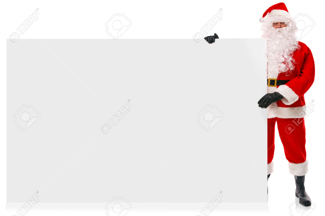 full length photo of santa claus holding a large blank sign for