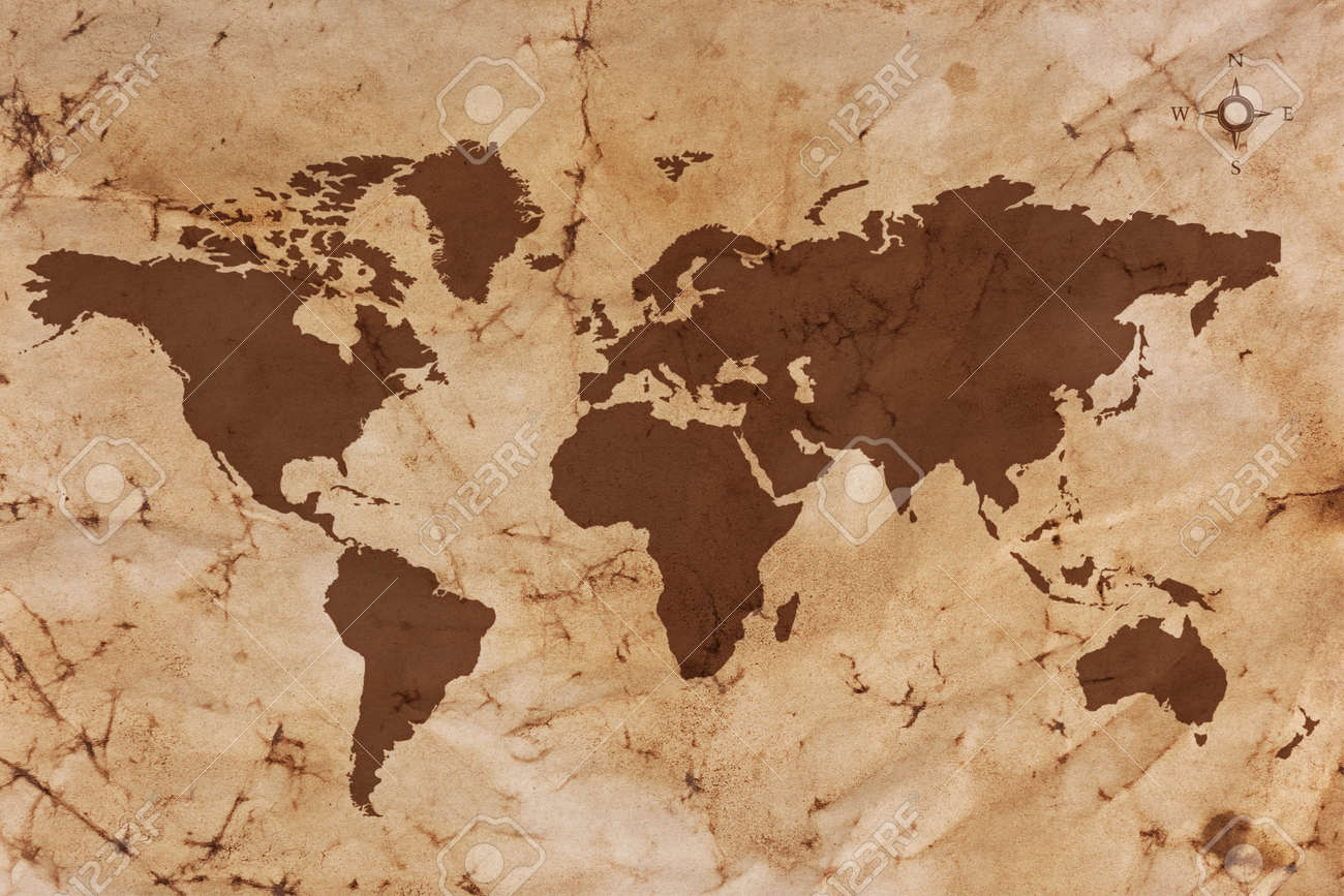 Marvelous Old World Map On Creased And Stained Sepia Coloured Parchment Paper. Stock  Photo   17833908