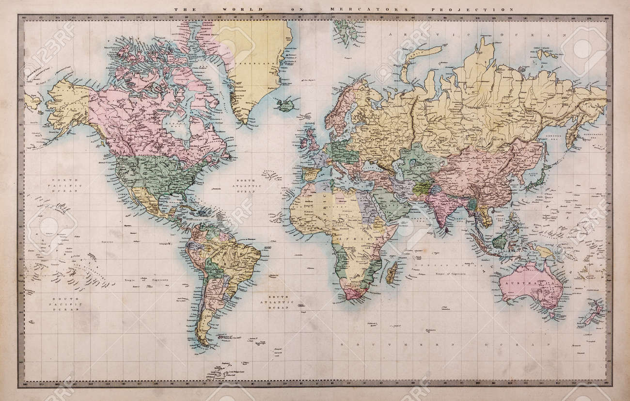 Original Old Hand Coloured Map Of The World On Mercators Projection