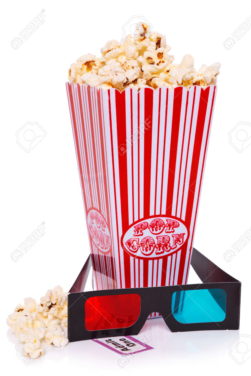 Box of Popcorn, 3D Glasses and an Admit One ticket isolated on a white background. Stock Photo - 18367370