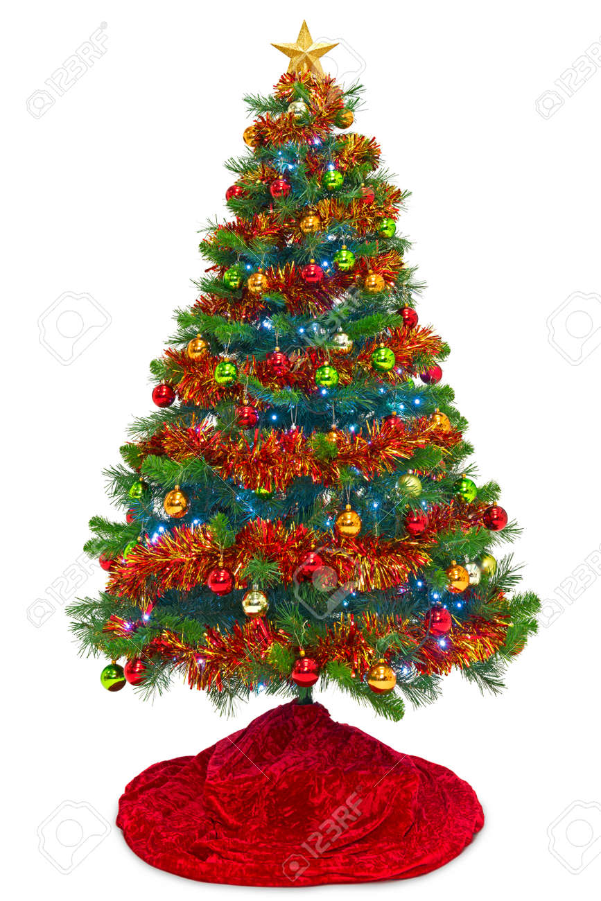 Christmas Tree Tinsel.Christmas Tree With A Red Skirt Decorations Baubles Tinsel