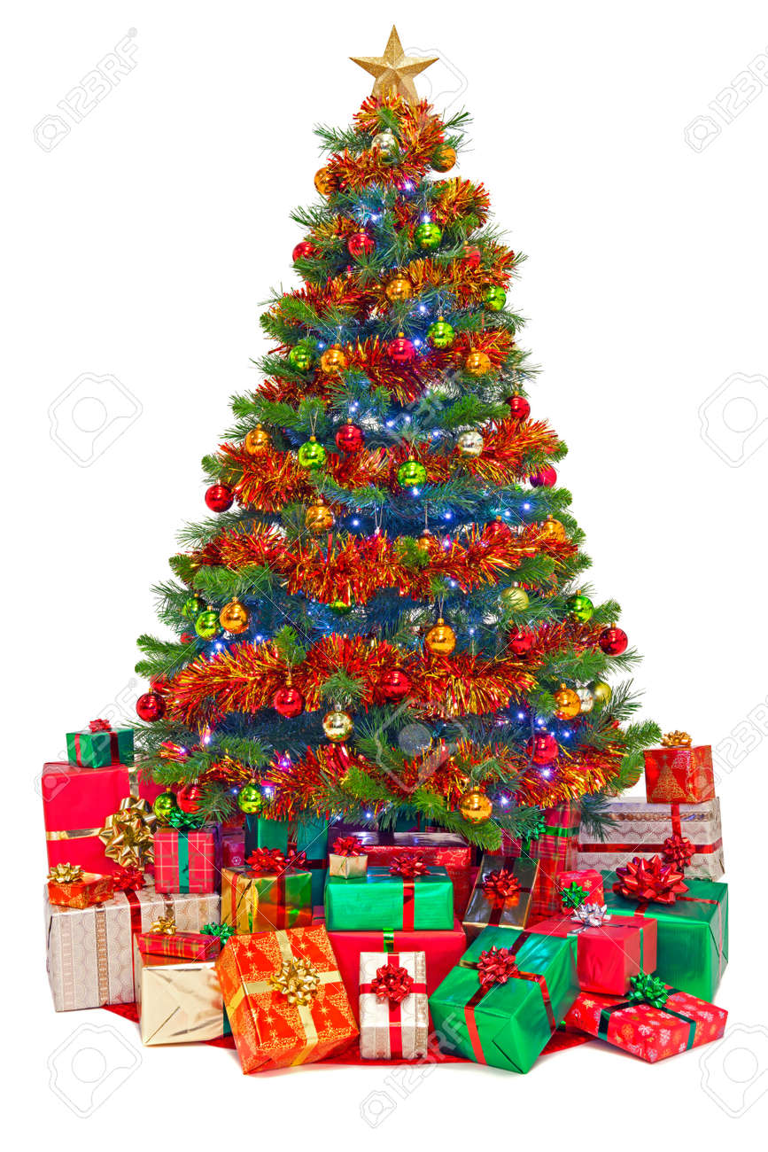 A Decorated Christmas Tree With Gift Wrapped Presents Isolated