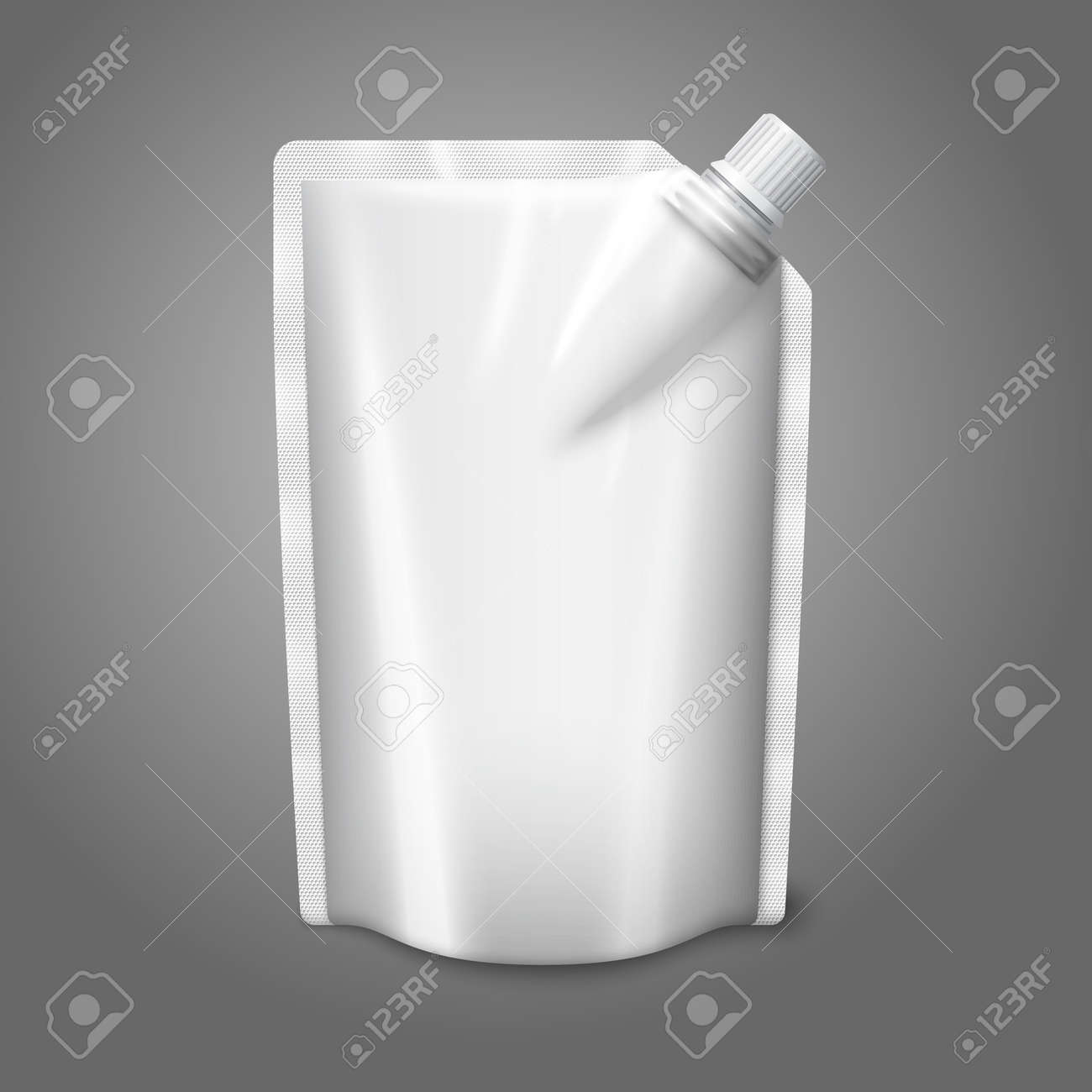 Blank white realistic plastic pouch with cap, isolated on grey background with place for your design and branding. Vector illustration - 153761126