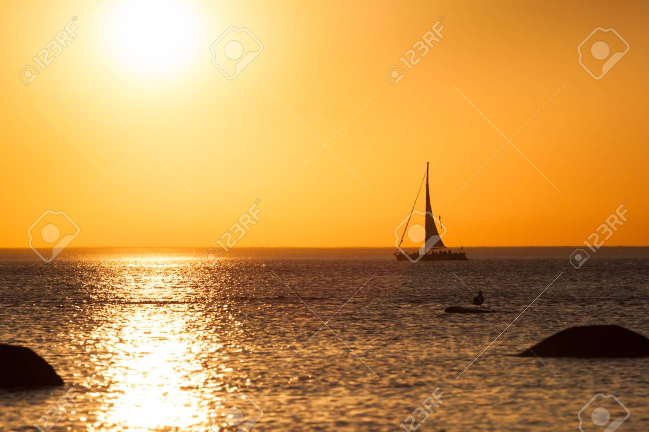 Photo of a yacht silhouette during sunset Stock Photo - 13236958