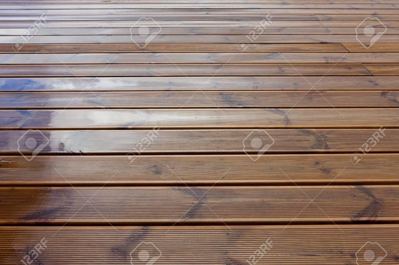 Terraza Marrón Mojado Suelo De Madera De Textura De Fondo