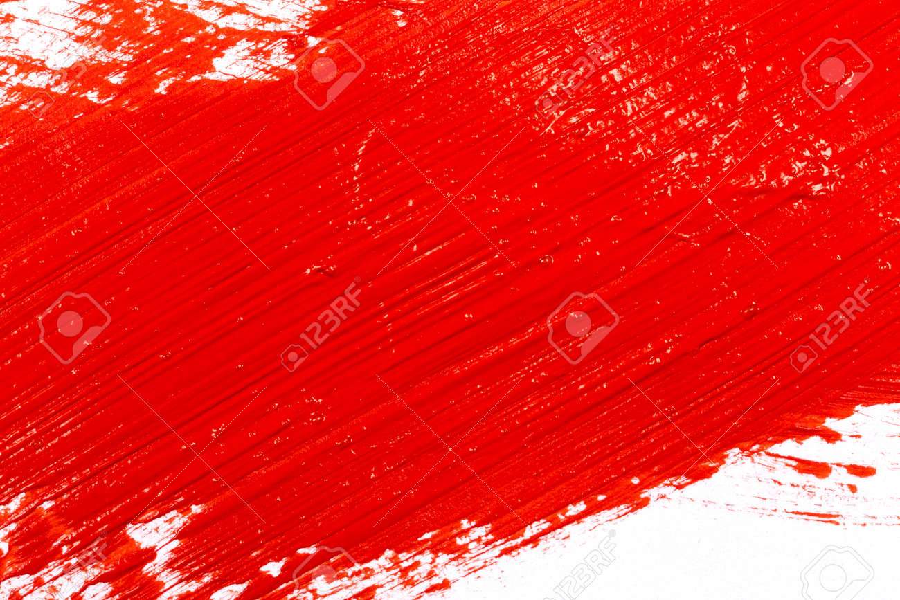 Red stroke of the paint brush on white paper - 40512573