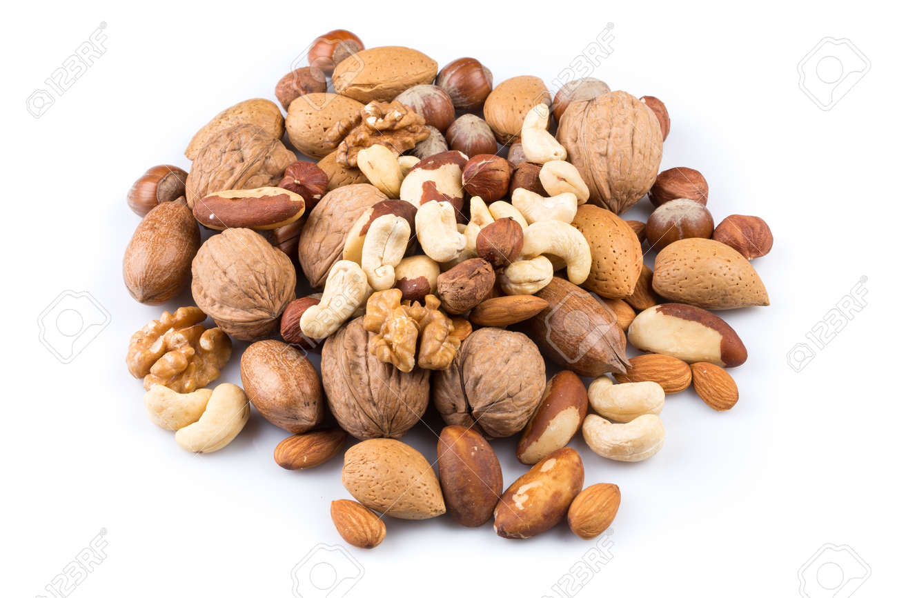 Variety of Mixed Nuts Isolated on White Background - 43991558