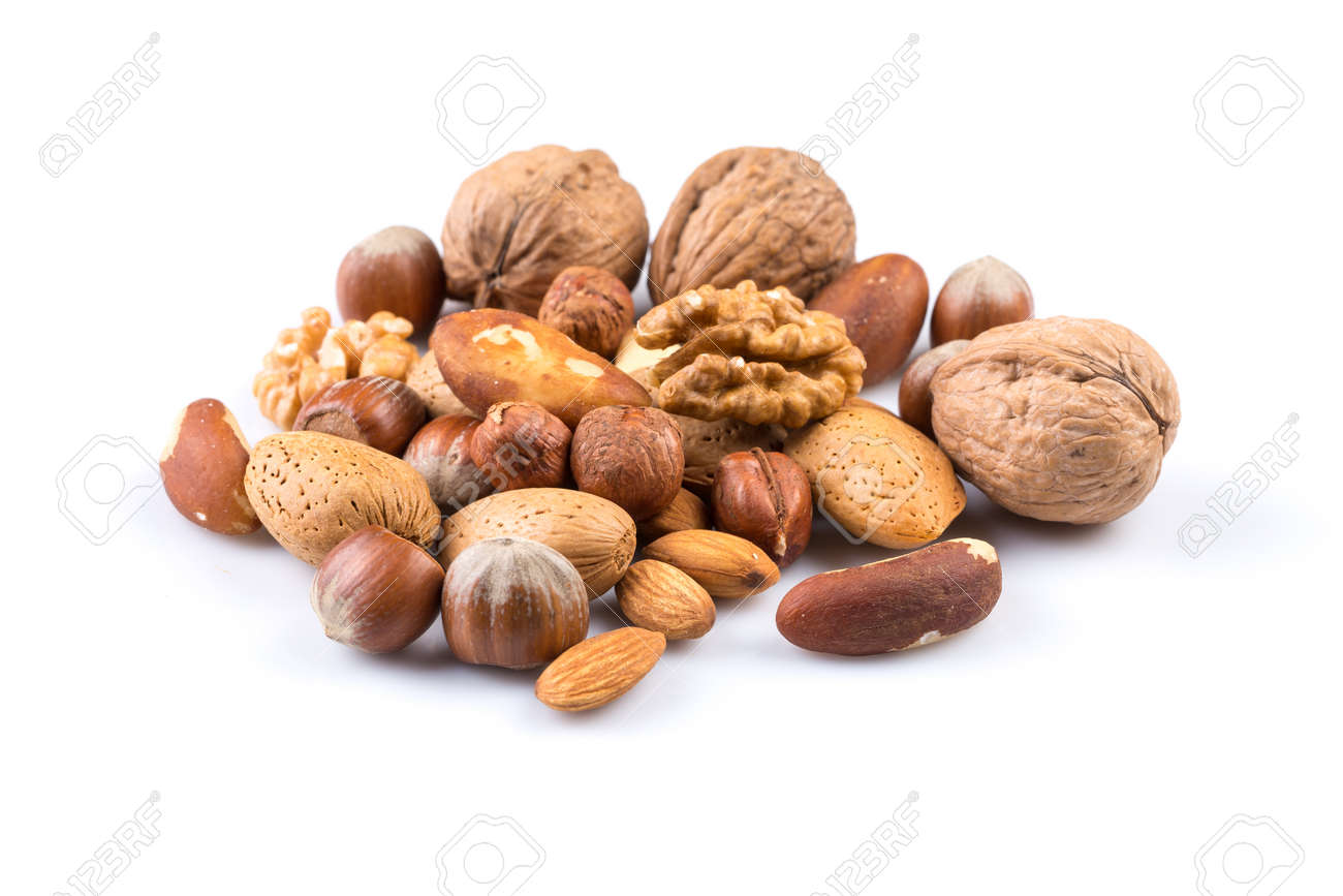 Variety of Mixed Nuts Isolated on White Background - 44371269