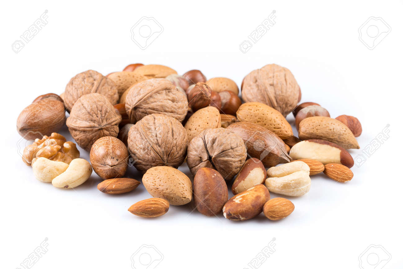 Variety of Mixed Nuts Isolated on White Background - 46920148