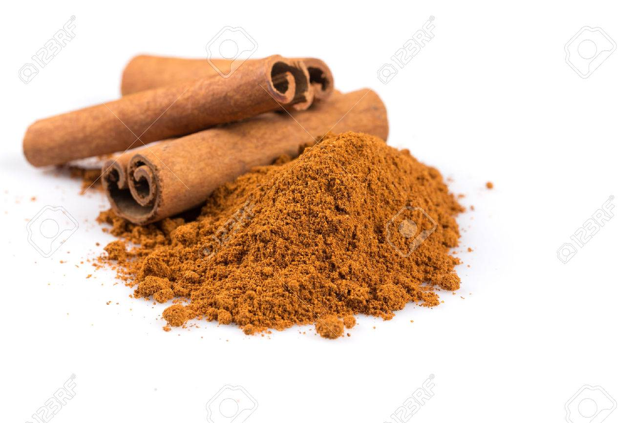 cinnamon sticks with powder isolated on white background - 46916406