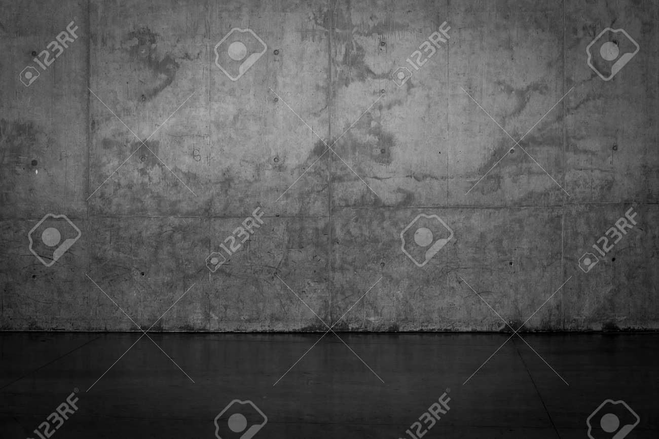 Grungy dark concrete wall and wet floor for background texture - 47949948