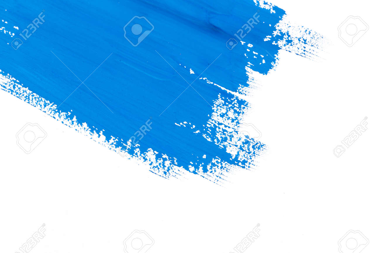 stroke blue paint brush color water watercolor isolated on white