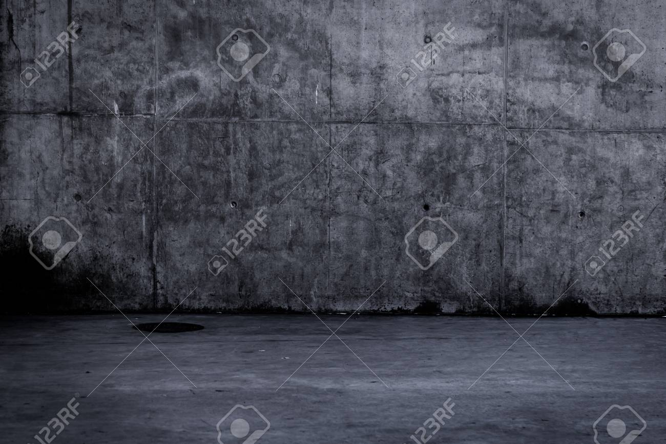 Simple Dark Concrete Wall And Floor Background With Texture Stock