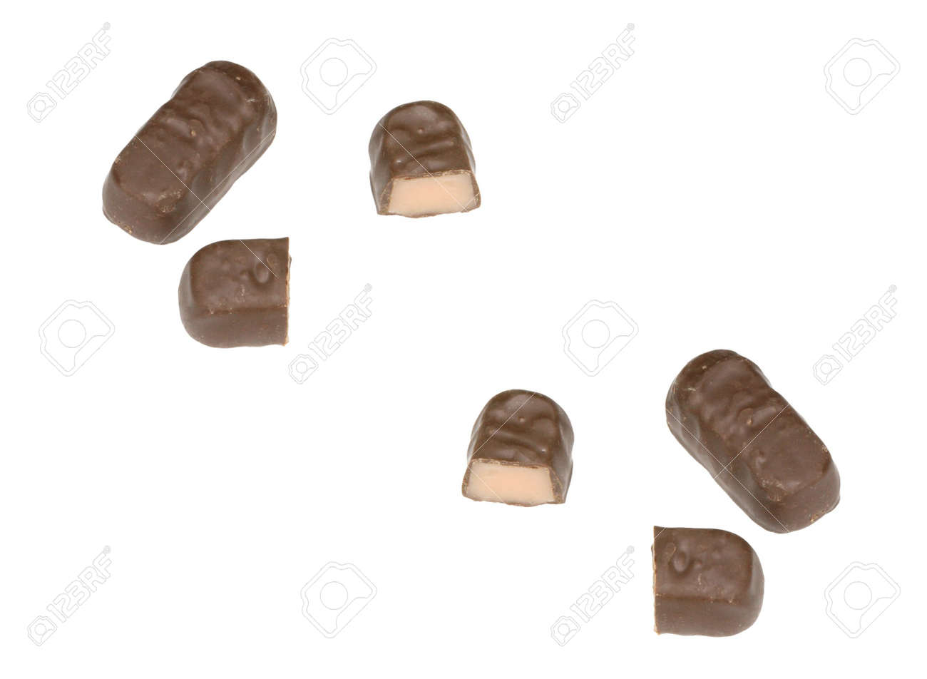 four  chocolate candy with filling on white background Stock Photo - 3145849